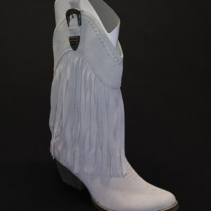 VERY VOLATILE Cream Suede Cowboy Boots With Fringe